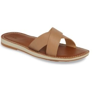 OLUKAI KE'A Sting Tan Leather Sandals Slides